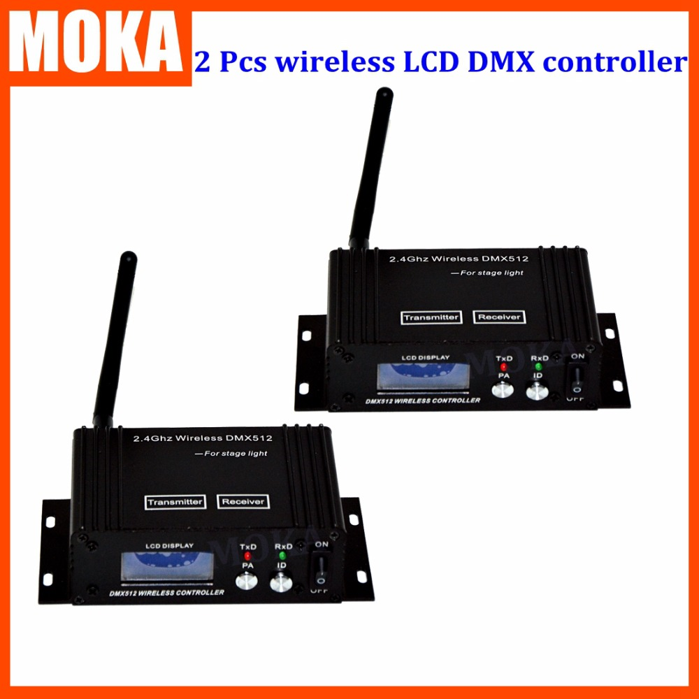 2 PCS/LOT  transceiver DMX 512 control Wireless Transmitter&Receiver  stage light receiver Controller for Stage Par Light 1pc receiver china airmail freeshipping 2 4g wireless dmx512 signal controller 1x dmx 512 wireless receiver for stage light