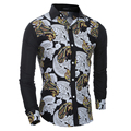 2016 новых высококачественных горячая распродажа мода с длинным рукавом хлопок гэри черный узор молодых мужчин свободного покроя ну вечеринку рубашка бесплатная доставка