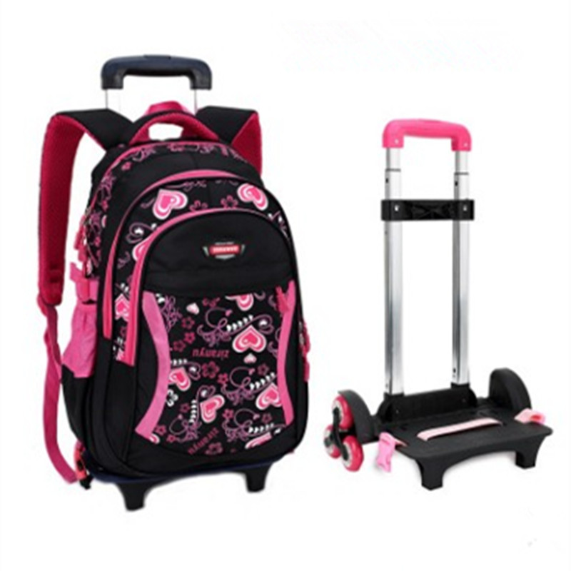 Letter Printing Girls Trolley School Bags Backpack Bag Three wheels for Boy Girls Primary School Satchel Children Travel Luggage