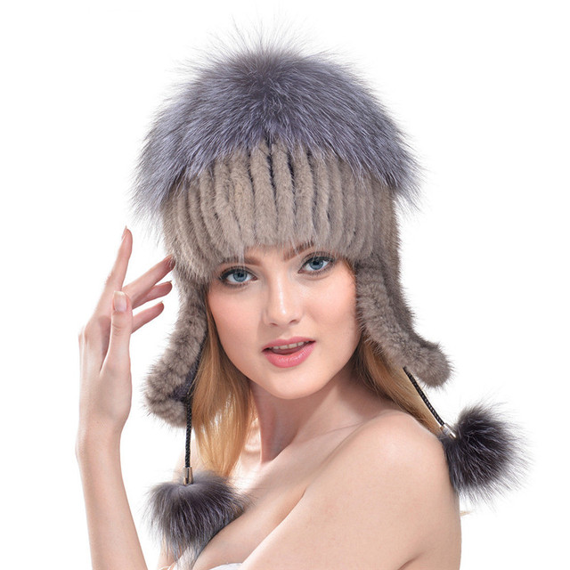 2016 Winter Ear Protector Caps Women Fashion Natura Fur Hat Real Mink Fur Cap With Fur Pom Top Knitted Bomber Hat LH333
