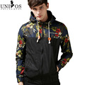 Windbreaker Man Jackets 2016 Spring Summer Men Floral Patchwork Zipper Coats New Hooded Jaqueta Military Jackets Z2200