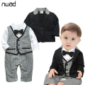 2PCS /Set Baby Kid Plaid Clothing Set Gentleman Formal Suits For Newborn Baby Boy Party Clothes Bow Ties Romper +Jacket  FF027