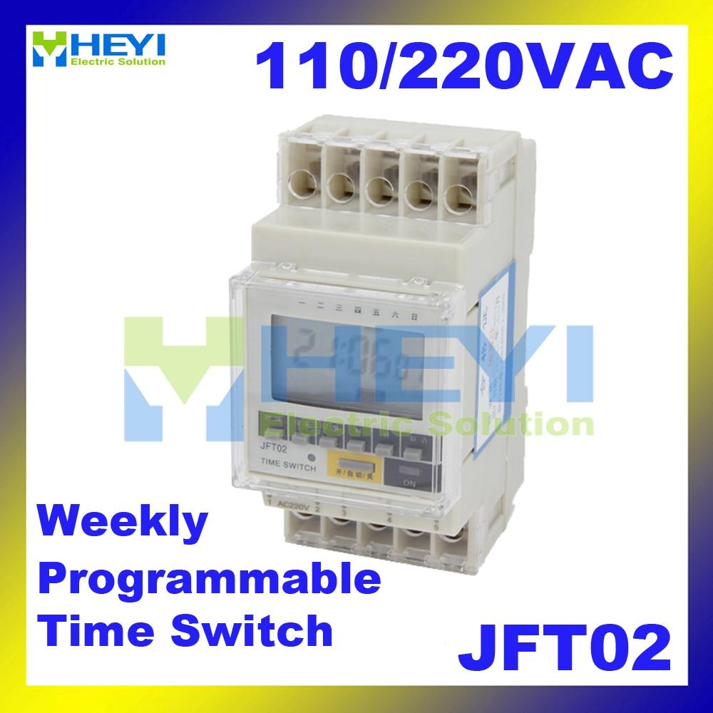 цена на Weekly Programmable digital time switch LED display JFT02 AC 110V 220V 20A Din Rail Timer Controller