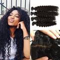8A Unprocessed virgin Silk Base Frontal Closure With Bundles Deep Wave Virgin Peruvian Curly Hair Ear To Ear Silk Base Frontal
