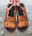 2016 summer new men's casual leather open-toed sandals men first layer of leather slip breathable beach