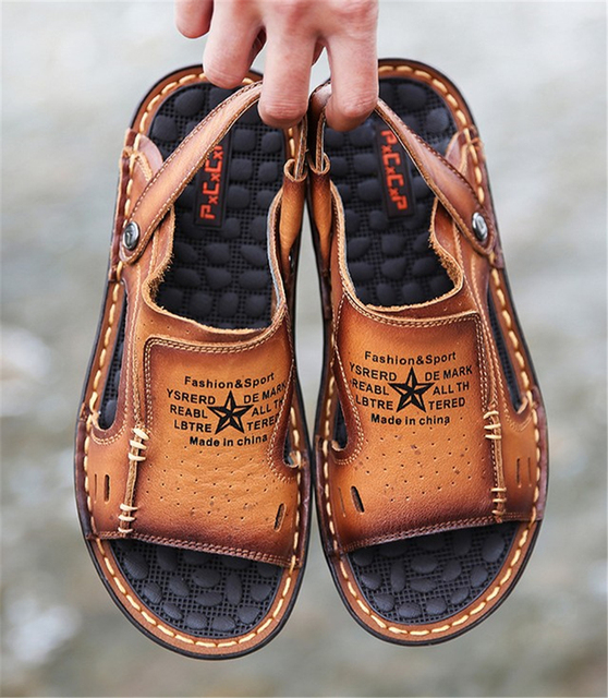 d97d681c0fbfc 2016 summer new men s casual leather open-toed sandals men first layer of  leather slip