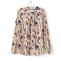 женщины с длинным рукавом печать negro стоит блузки рубашки 2-81105