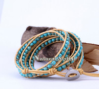5х естественная бирюза бусины золото кожа накидка браслет, женщины браслет