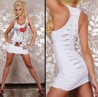 бесплатная доставка сексуальное миниое платье повторный набор тату белый топ мода