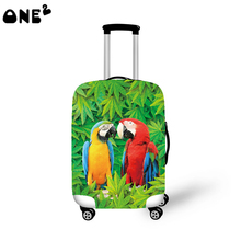2016 ONE2 Design 3d parrot pattern printing cover apply to 22,24,26 inch protective waterproof canvas fabric women luggage cover