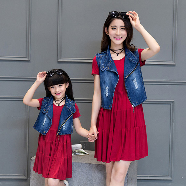 2016 family look clothing set girl and mother dress+ vest matching mother and daughter clothes outfits mom and daughter dress