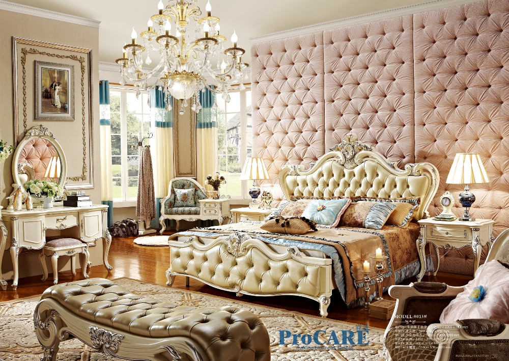 Online-Shop High end massivholz und leder bett Barocken schlafzimmer ...