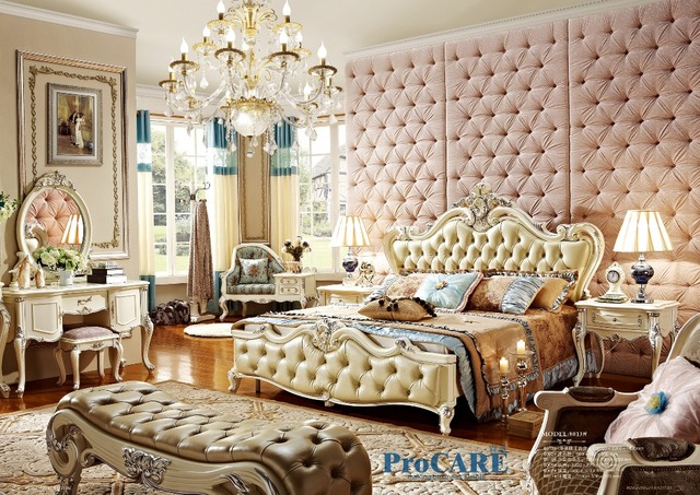 high end massivholz und leder bett barocken schlafzimmer mobel set mit nachttisch bett ende hocker