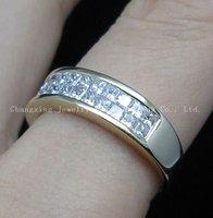 Verde 14 карат желтое золото 0.99 карат принцесса Brilliant Brutal кольцо