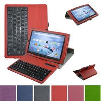 New Soft Removable Bluetooth Keyboard PU Leather Case Cover For 8 Amazon Fire HD 8