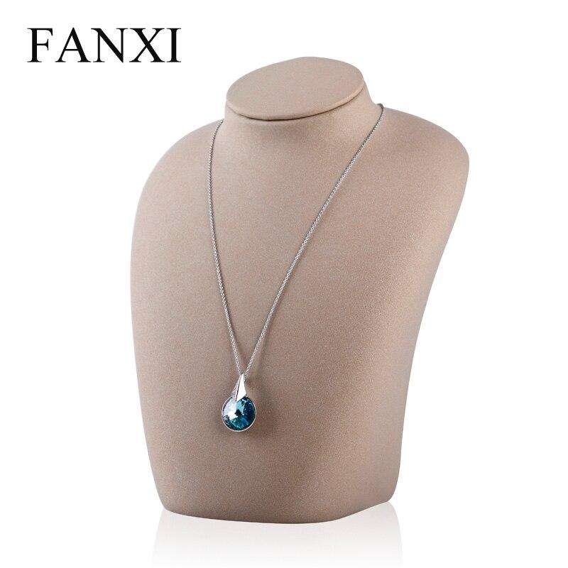 ee458c05aaca Fanxi crema arena amarilla pu cuero cuello marco soporte del estante de la  exhibición de la joyería para el collar o colgante