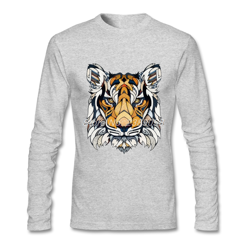 2017 New Style Mens Long Sleeve Shirt Tiger Animal Poker Customized t shirt Cotton Mens Tee shirts