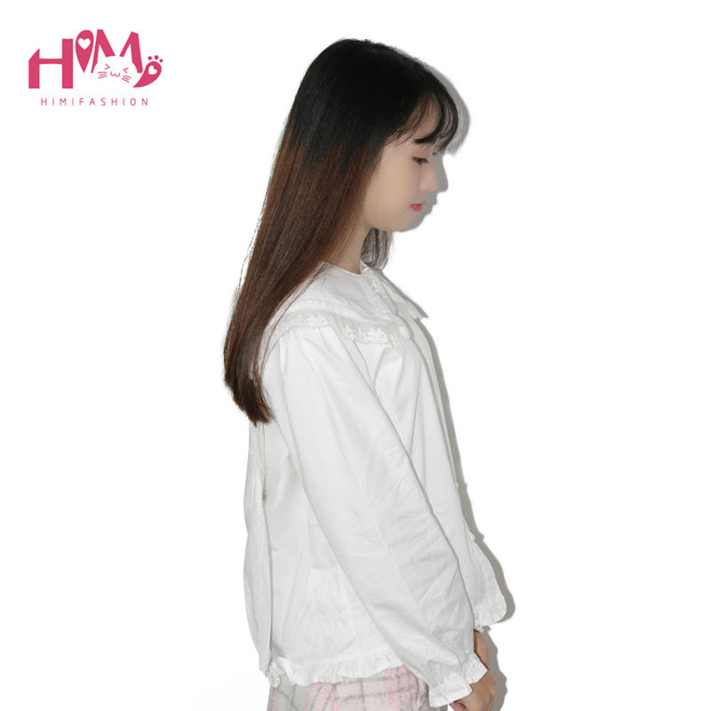 Bunny peter collar white blouse lolita shirt soft sister cosplay cute tops women summer cotton shirts white free shipping (5)