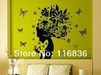 бесплатная доставка горячей продажи цветок девушка баба veto Taste стены искусства наклейки Сделай сам стены способа украшения sticker90x70cm si2175