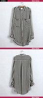 бесплатная доставка новых женщин с длинным рукавом рубашка в полк женские блузки горячая распродажа мода с карманы031104