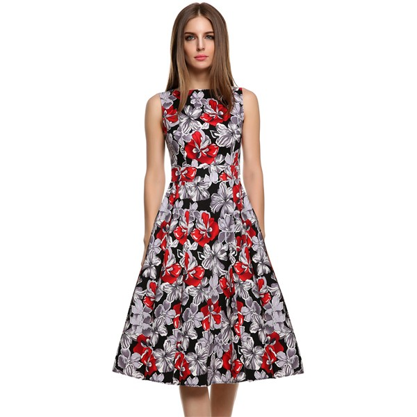 ACEVOG Women Dress Retro Vintage 1950s 60s Rockabilly Floral Swing Summer Dresses Elegant Bow-knot Tunic Vestidos Robe Oversize 19