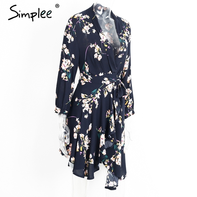 Simplee Boho floral print irregular sexy dress