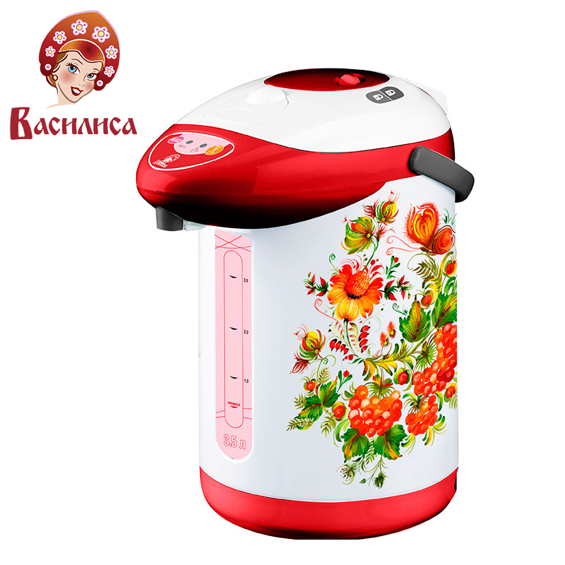 VASILISA TP2-750 Electric Air Pot. Thermopot, 3,5L, Thermo Electric Thermos Insulation Kettle, Temperature Control, 3 Ways
