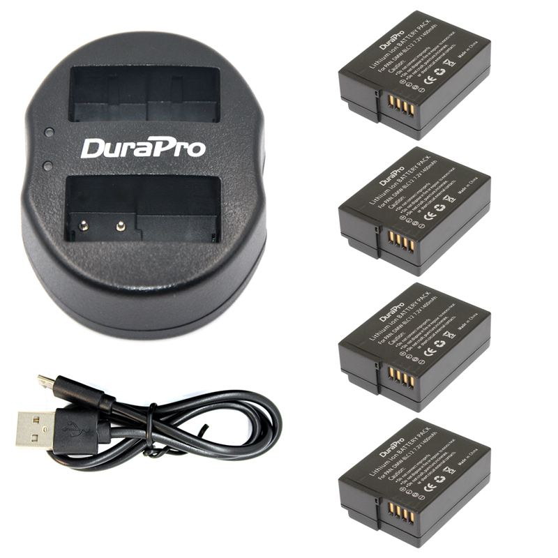 4pc DMW BLC12 DMW BLC12E BLC12 Rechargeable Li ion Battery USB Dual Charger for Panasonic FZ1000