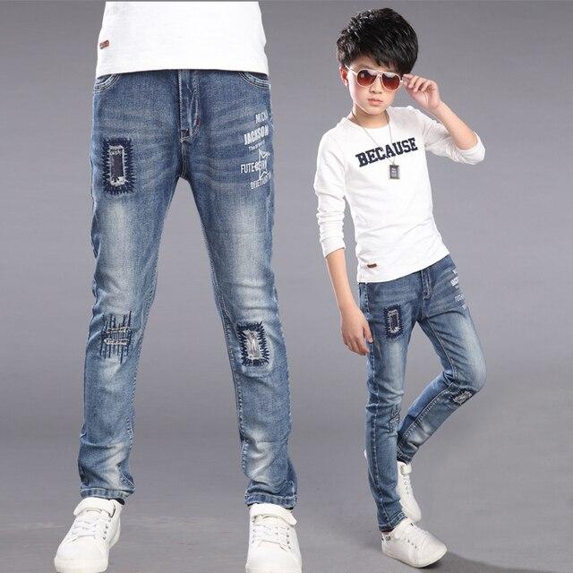 Весна и Осень мальчиков джинсы сломанные hole джинсы брюки для мальчиков хлопок мальчики разорвал джинсы случайные детские брюки 4-12 лет