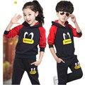 Детский спортивный костюм девушки юноши дети комплект одежды детская одежда/Британский ветер флис костюмы весенний и осенний период TZ02