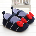 Navy Striped Embellished Red Bow Pump Elastic Band Soft Sole Baby Girl Shoes Infant Leisure Girls Toddler Shoes 0-18 Months 2016
