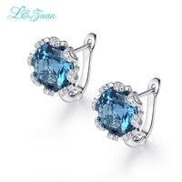 I & Цзуань белого золота ювелирные изделия с алмазами 925 пробы серебряные серьги клип для женщин натуральный голубой камень топаз элегантный