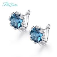 I & zuan белые золотые ювелирные изделия с бриллиантами 925 серебро клип серьги для женщин натуральный голубой камень топаз элегантные аксессуа