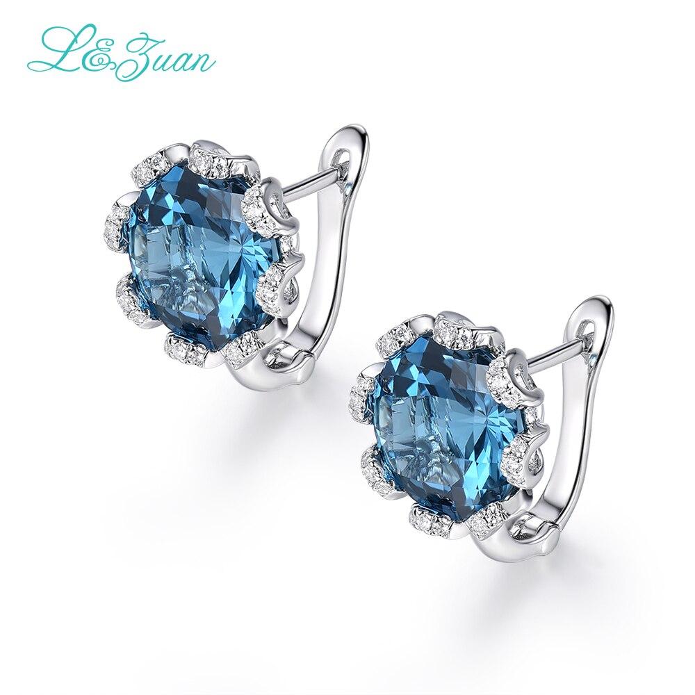 I & zuan bijoux en or blanc diamant 925 boucles d'oreilles Clip en argent Sterling pour femmes topaze naturelle pierre bleue accessoires élégants cadeau