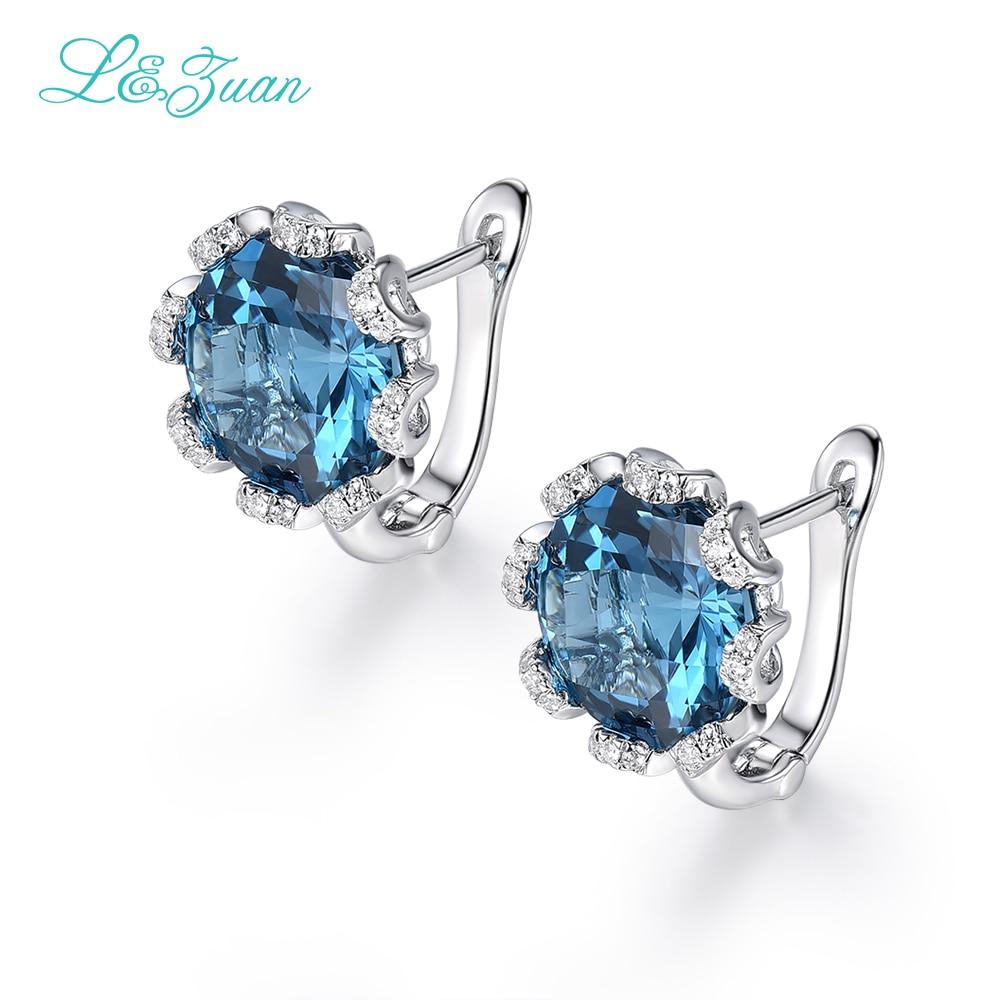 Je & zuan Blanc Or Diamant Bijoux 925 Sterling Silver Clip Boucles D'oreilles Pour Les Femmes Naturel Topaze Bleu Pierre Élégant Accessoires cadeau
