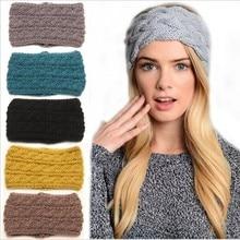 Новый Леди мода вязание шерсть широкий оголовье наушники теплая зима оголовье аксессуары для волос