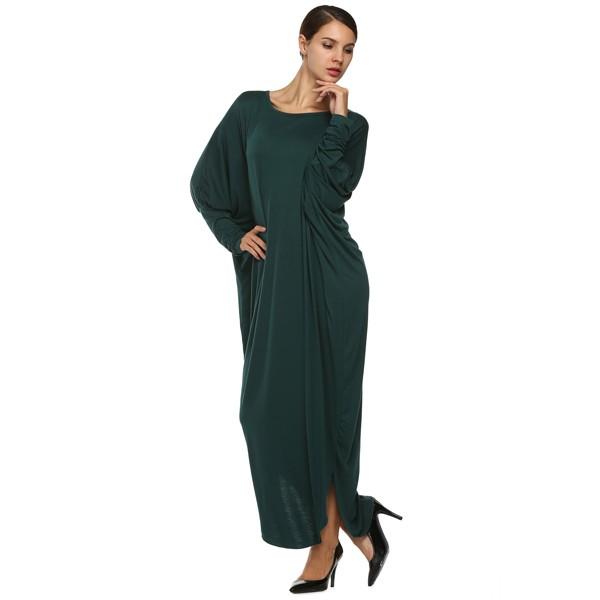 Широкое платье с длинным рукавом в форме крыла летучей мыши зеленое
