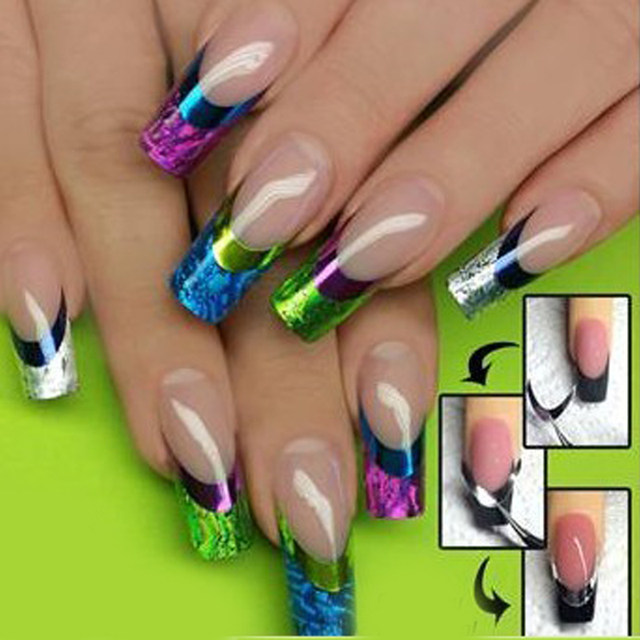 Online Shop 5pcslot Hot Colorful French Metallic Nail Stickers