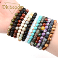 2017 New Summer Style Natural Stone Beads Bracelet Women Men Rose Quartz/Agate/Tiger Eye Beaded Stretch Bracelets Bangles