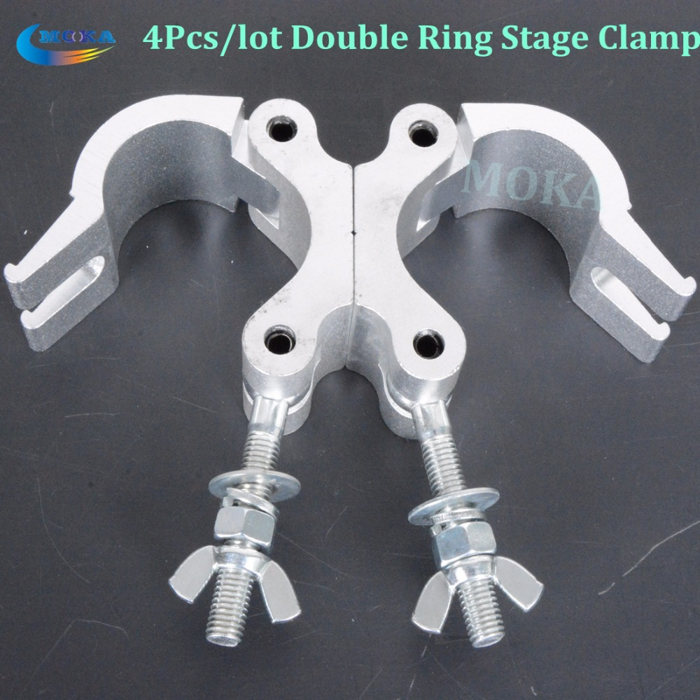 4Pcs/lot Stage Clamps 500kg Load Capacity Swivel Coupler with Dia.38~54mm Tube double ring light hook  big stage truss fastener 32mm 1 1 4 inch big trigger snap hook gun black metal swivel clasp lobster claws swivel hooks hardware hook clasp