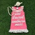 Vestido de fiesta summer girls vestido de los bebés welldressed cordón de la colmena del vestido con diadema a juego y collar