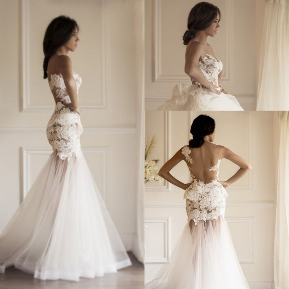 ZZ58 Backless Sleevless Detachable Train Wedding Dress