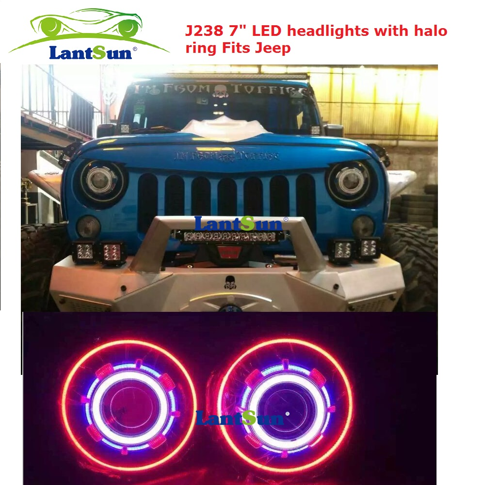Pair hot sale NJ238 7 inch 35W round LED projector headlight with red led halo ring angel eyes fits jeep wrangler jk CJ TJ LJ