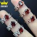 Granate Natural anillo joya Auténtica plata de ley 925 mujer joyería anillos de AMOR