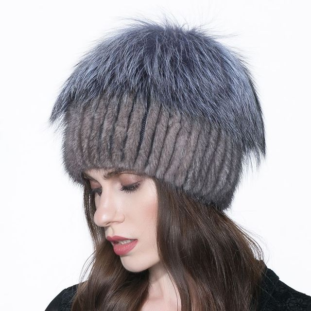 Women's hat real mink fur hat in winter and before the silver fox fur 2016 Russian hot fashion style, high quality women's hat