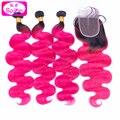 8а ombre ярко-розовый человеческих волос розовый и черный человеческих волос weave связки 100% бразильские волосы объемной волны с закрытие