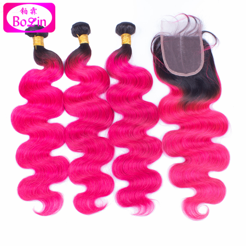 8a ombre hot pink human hair extensions pink and black ...