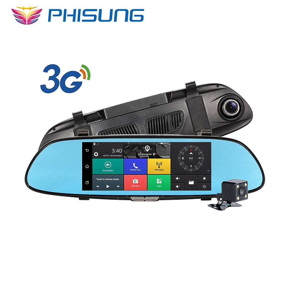 """Prix pour Phisung 3G Voiture Caméra 7 """"Tactile Android 5.0 GPS dvr de voiture vidéo enregistreur Bluetooth WIFI Double Lentille rétroviseur Dash cam voiture dvr"""