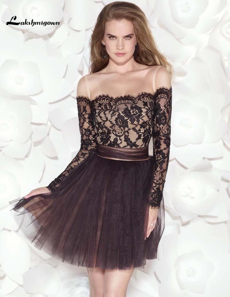 Gorgeous Long Sleeve Black Homecoming font b Dresses b font A line Mini Lace font b
