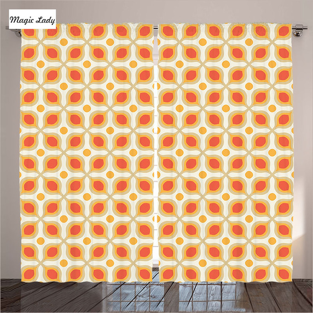 Rideaux Orange Geometrique Decor Liee Bold Formes Vintage Style